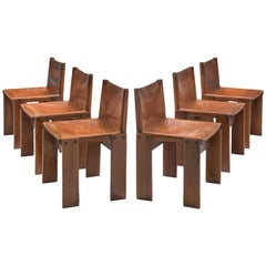 Afra & Tobia Scarpa Set of Six Monk Chairs in Patinated Cognac Leather