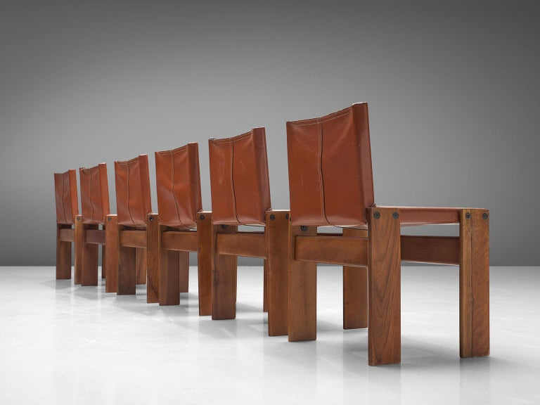 Mid-Century Modern Afra & Tobia Scarpa Set of Six Monk Chairs in Terracotta Red Leather For Sale