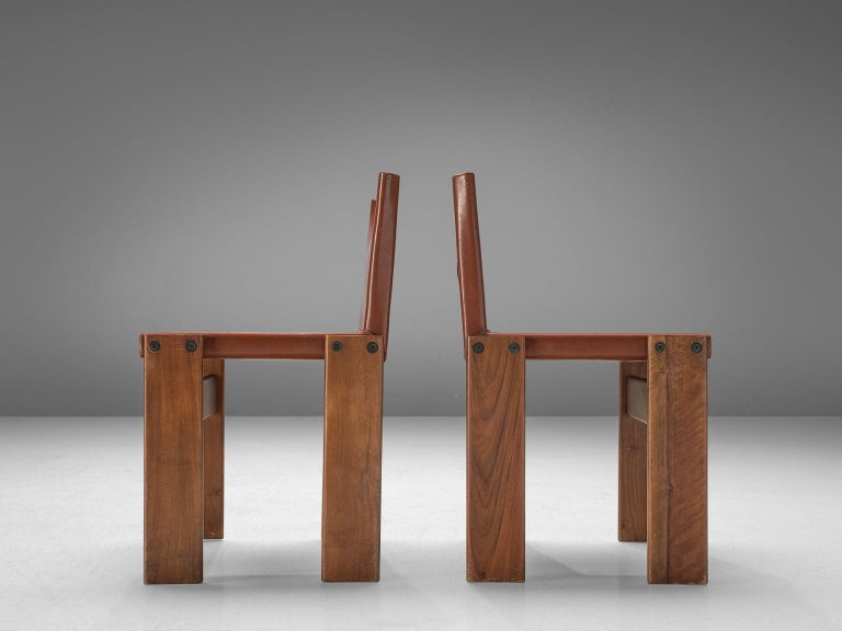 Italian Afra & Tobia Scarpa Set of Six Monk Chairs in Terracotta Red Leather For Sale