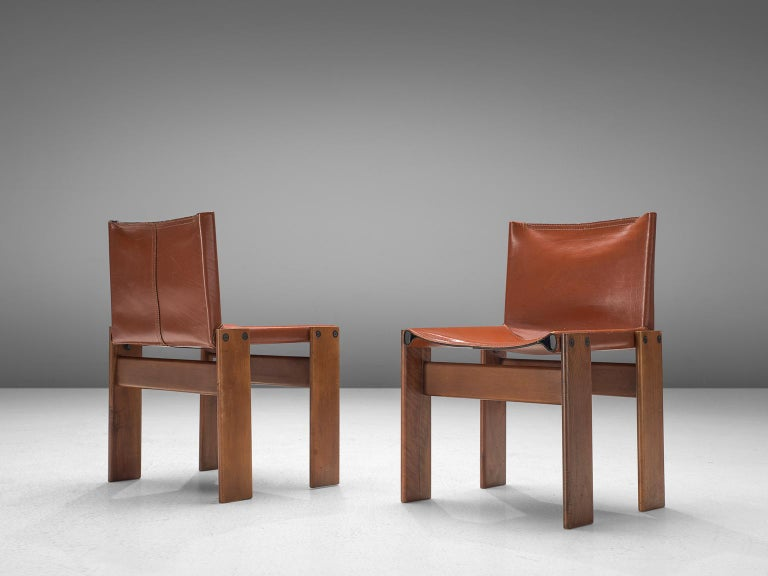 Afra & Tobia Scarpa Set of Six Monk Chairs in Terracotta Red Leather In Good Condition For Sale In Waalwijk, NL