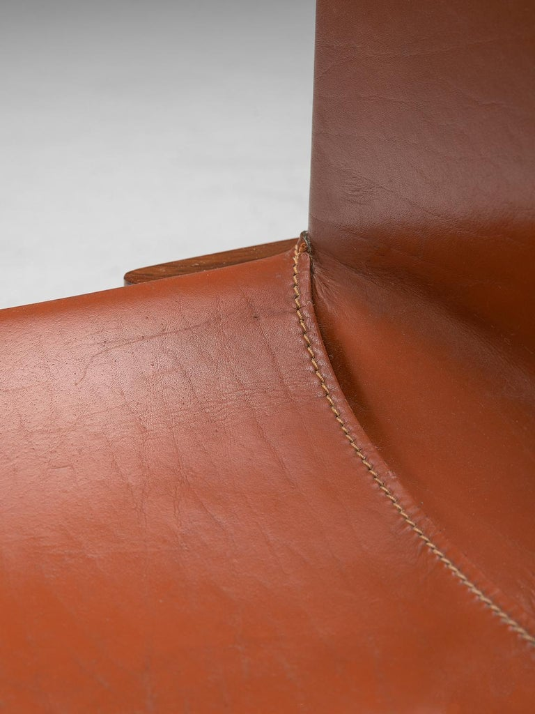 Afra & Tobia Scarpa Set of Six Monk Chairs in Terracotta Red Leather For Sale 2