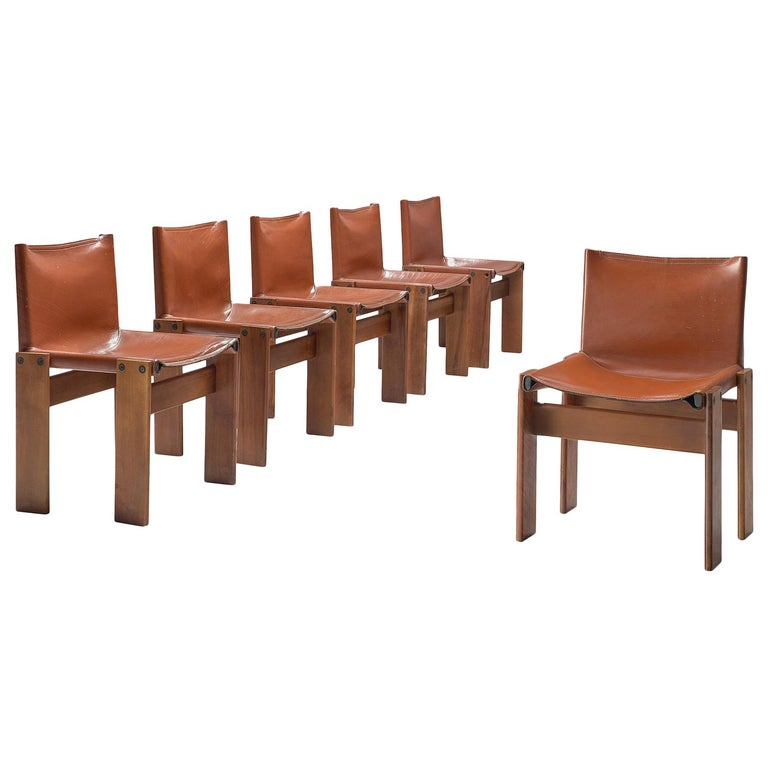 Afra & Tobia Scarpa Set of Six Monk Chairs in Terracotta Red Leather For Sale