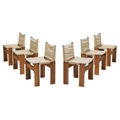 Afra & Tobia Scarpa Set of Six 'Monk' Dining Chairs in Canvas