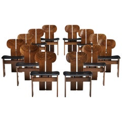 Afra & Tobia Scarpa Set of Twelve 'Africa' Dining Chairs with Black Leather