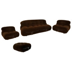 Afra & Tobia Scarpa Set with Sofa Armchairs and Ottoman Soriana for Cassina