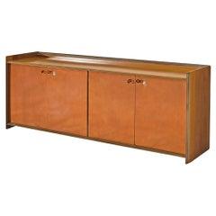 Afra & Tobia Scarpa Sideboard Model 'Artona' in Walnut and Leather