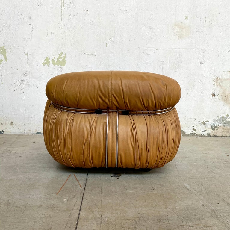 """Afra & Tobia Scarpa """"Soriana"""" Leather Chairs for Cassina, 1969 For Sale 5"""