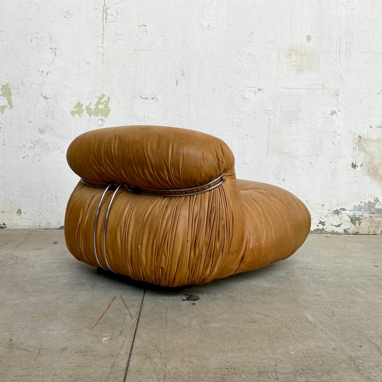 """Afra & Tobia Scarpa """"Soriana"""" Leather Chairs for Cassina, 1969 For Sale 6"""