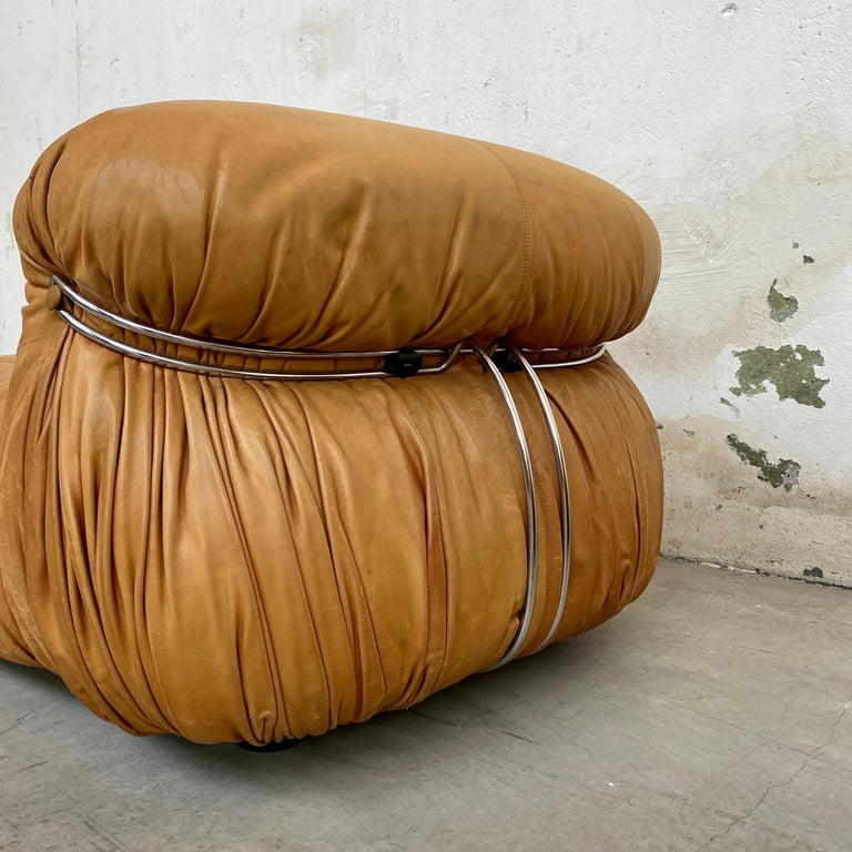 """Afra & Tobia Scarpa """"Soriana"""" Leather Chairs for Cassina, 1969 For Sale 9"""