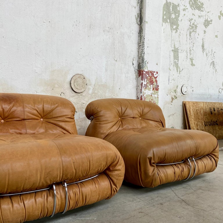 """Pair of """"Soriana"""" leather chairs by Afra & Tobia Scarpa for Cassina, 1969.  Pair of"""