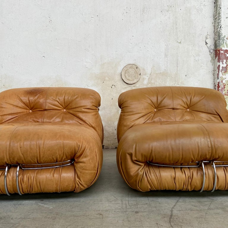 """Space Age Afra & Tobia Scarpa """"Soriana"""" Leather Chairs for Cassina, 1969 For Sale"""
