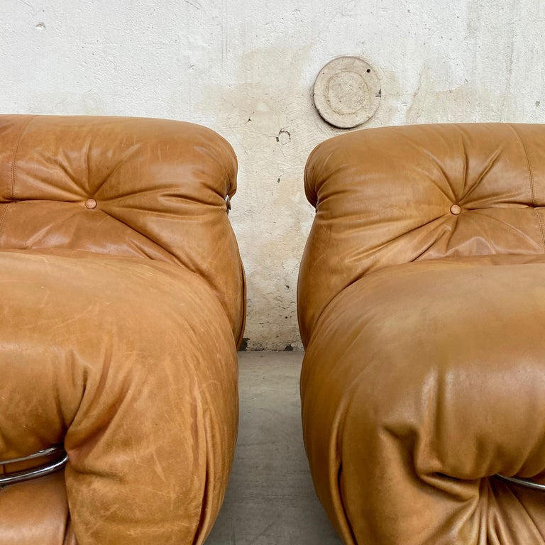 """Italian Afra & Tobia Scarpa """"Soriana"""" Leather Chairs for Cassina, 1969 For Sale"""