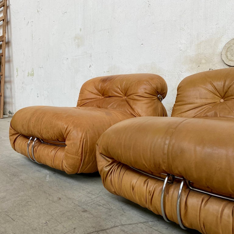 """Afra & Tobia Scarpa """"Soriana"""" Leather Chairs for Cassina, 1969 In Good Condition For Sale In Lonigo, IT"""