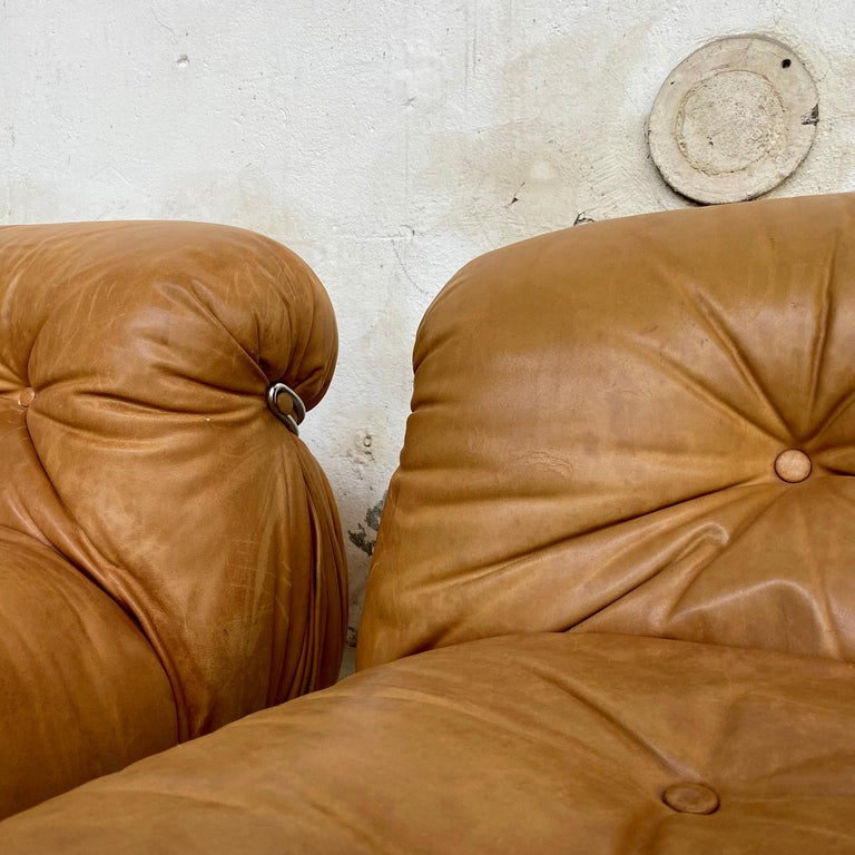 """Mid-20th Century Afra & Tobia Scarpa """"Soriana"""" Leather Chairs for Cassina, 1969 For Sale"""