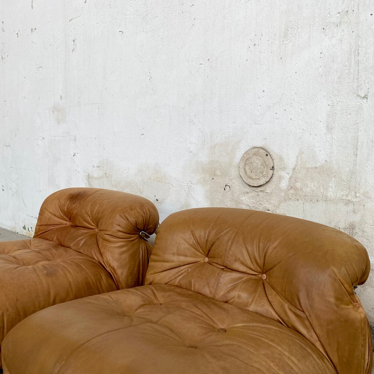 """Afra & Tobia Scarpa """"Soriana"""" Leather Chairs for Cassina, 1969 For Sale 1"""