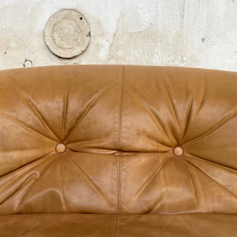 """Afra & Tobia Scarpa """"Soriana"""" Leather Chairs for Cassina, 1969 For Sale 2"""