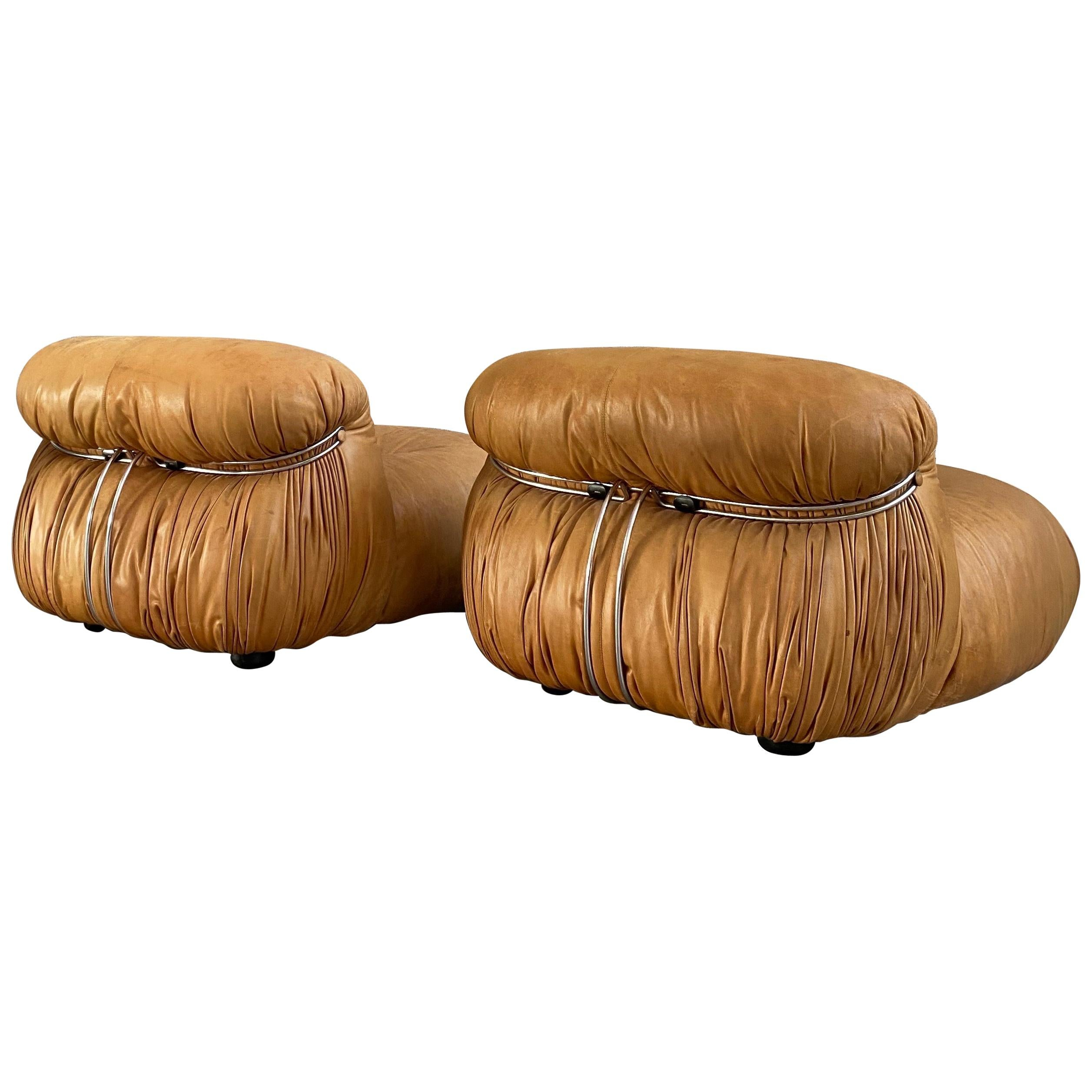 """Afra & Tobia Scarpa """"Soriana"""" Leather Chairs for Cassina, 1969"""