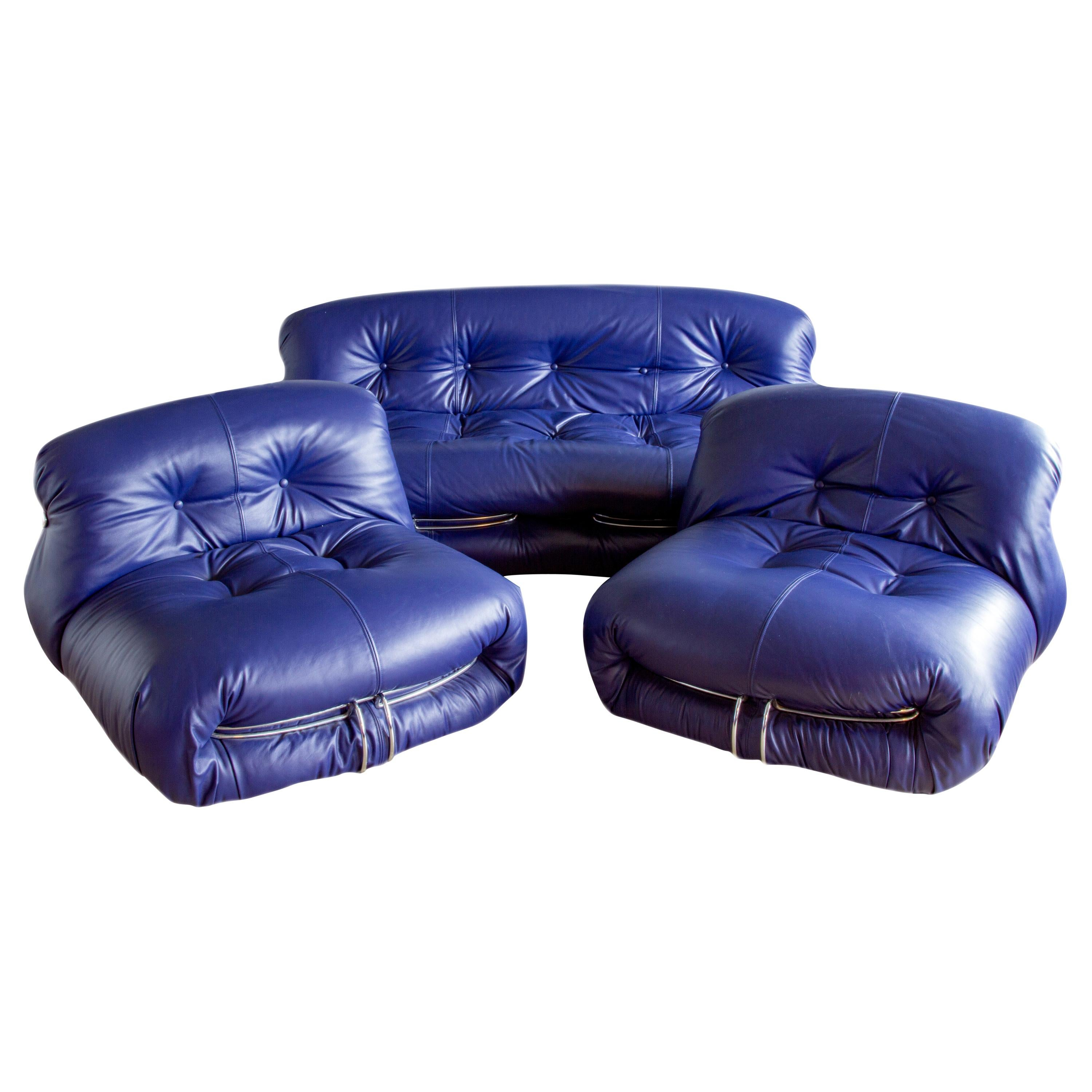 """Afra & Tobia Scarpa """"Soriana"""" Leather Lounge Suite For Cassina, circa 1970s"""