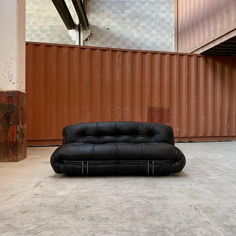 "Leather Afra & Tobia Scarpa ""Soriana"" Living Room Set for Cassina, 1969 For Sale"
