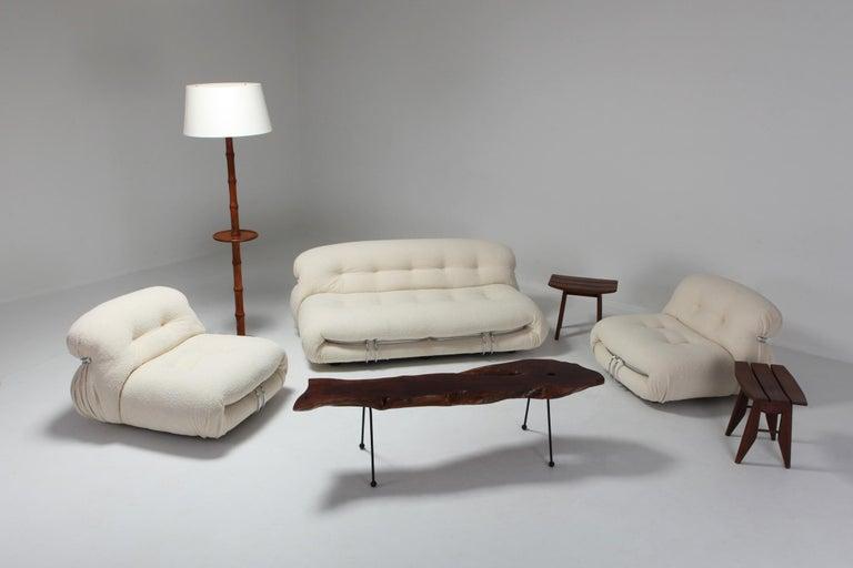 Post-Modern Afra & Tobia Scarpa 'Soriana' Living Room Set in Cream Wool For Sale