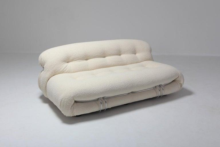 Afra & Tobia Scarpa 'Soriana' Living Room Set in Cream Wool For Sale 1