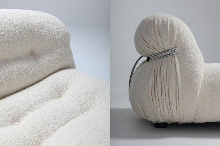 Afra & Tobia Scarpa 'Soriana' Living Room Set in Cream Wool For Sale 2