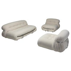 Afra & Tobia Scarpa 'Soriana' Living Room Set in Cream Wool