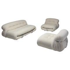 Afra & Tobia Scarpa 'Soriana' Living Room Set in Cream Wool