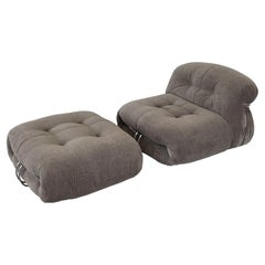 """Afra & Tobia Scarpa """"Soriana"""" Lounge Chair and Ottoman Set for Cassina"""