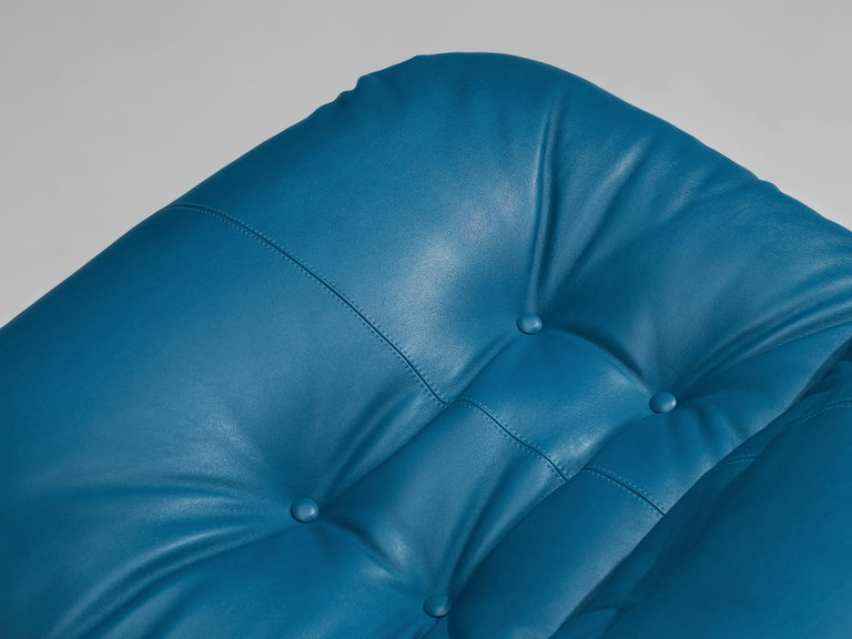 Afra & Tobia Scarpa 'Soriana' Lounge Chair with Ottoman in Blue Leather For Sale 6