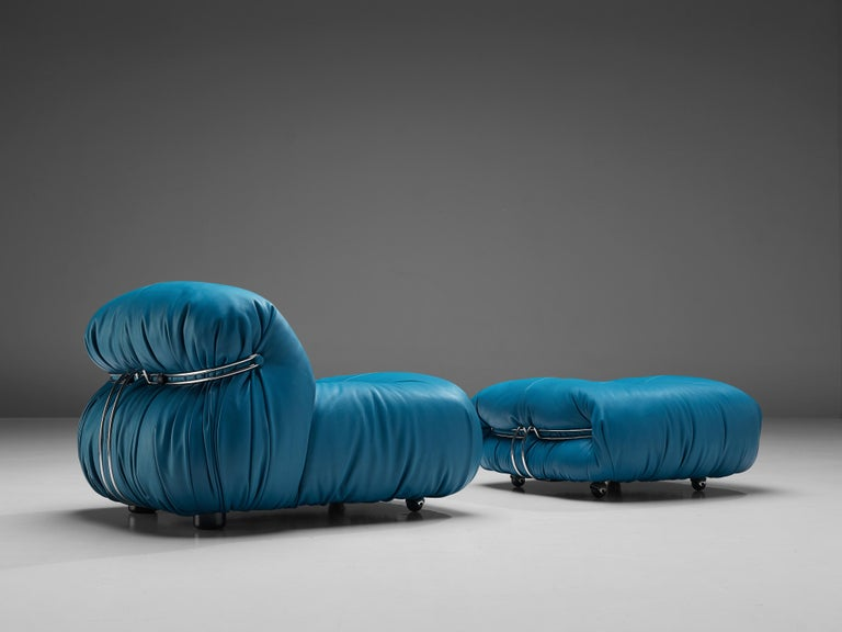 Mid-Century Modern Afra & Tobia Scarpa 'Soriana' Lounge Chair with Ottoman in Blue Leather For Sale