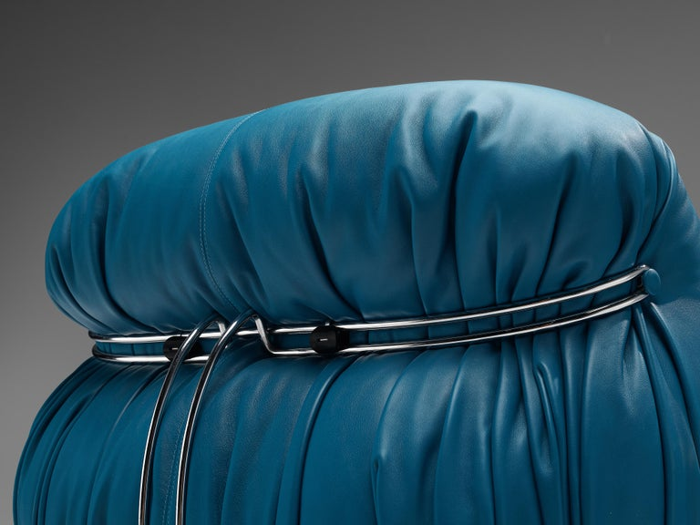 Italian Afra & Tobia Scarpa 'Soriana' Lounge Chair with Ottoman in Blue Leather For Sale