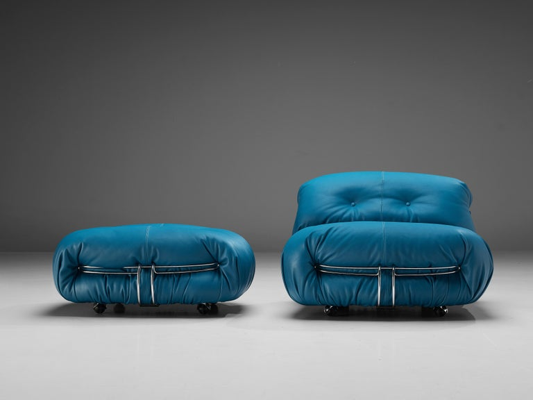 Mid-20th Century Afra & Tobia Scarpa 'Soriana' Lounge Chair with Ottoman in Blue Leather For Sale