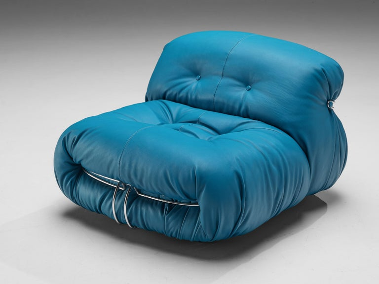 Afra & Tobia Scarpa 'Soriana' Lounge Chair with Ottoman in Blue Leather For Sale 1