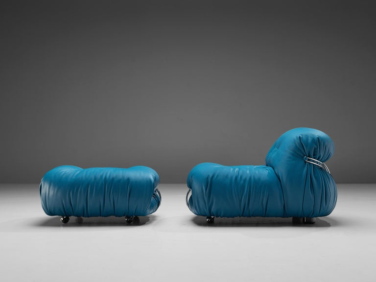 Afra & Tobia Scarpa 'Soriana' Lounge Chair with Ottoman in Blue Leather For Sale 2