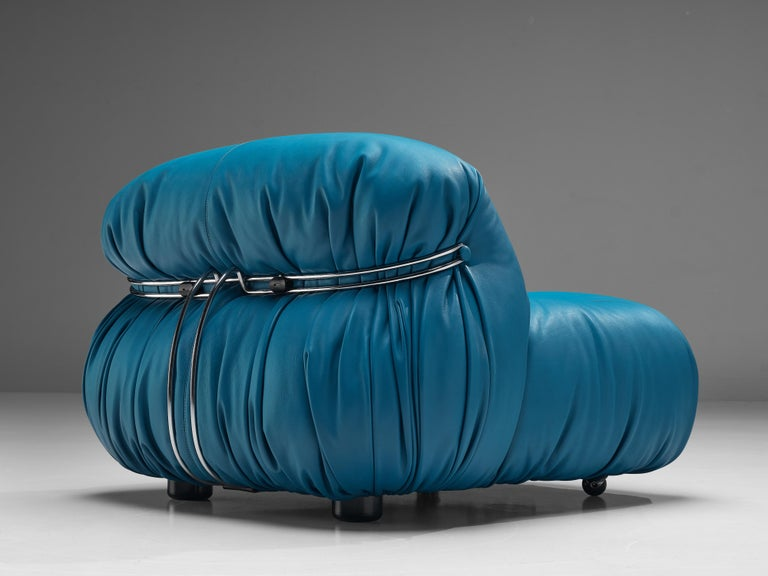 Afra & Tobia Scarpa 'Soriana' Lounge Chair with Ottoman in Blue Leather For Sale 3