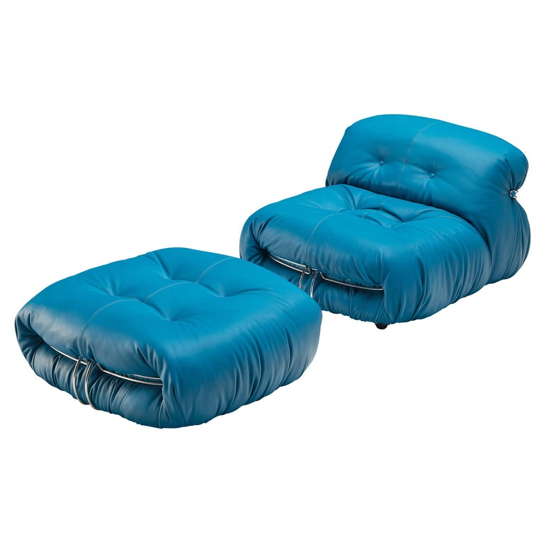 Afra & Tobia Scarpa 'Soriana' Lounge Chair with Ottoman in Blue Leather For Sale