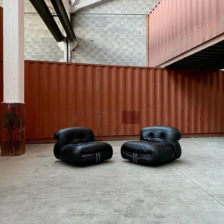 "Italian Afra & Tobia Scarpa ""Soriana"" Lounge Chairs for Cassina, 1969 For Sale"