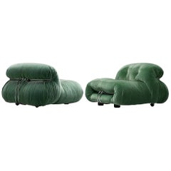 Afra & Tobia Scarpa 'Soriana' Lounge Chairs in Green Velvet Upholstery