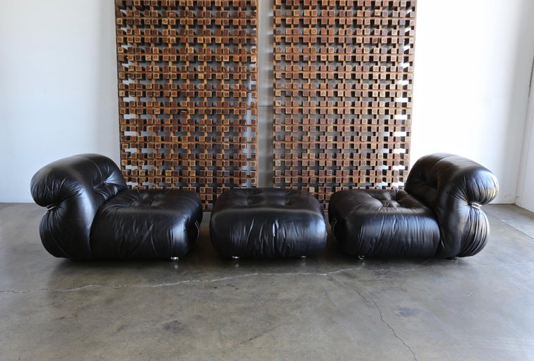 Mid-Century Modern Afra & Tobia Scarpa Soriana Lounge Chairs and Ottoman for Cassina, circa 1975 For Sale