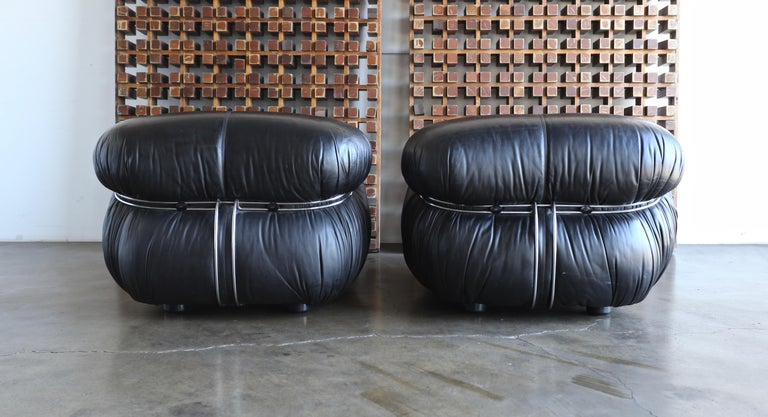Afra & Tobia Scarpa Soriana Lounge Chairs and Ottoman for Cassina, circa 1975 For Sale 3