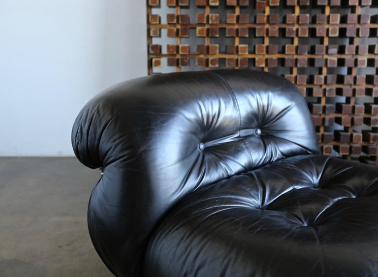 Steel Afra & Tobia Scarpa Soriana Lounge Chairs and Ottoman for Cassina, circa 1975 For Sale
