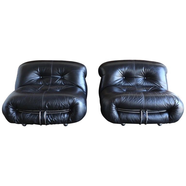 Afra & Tobia Scarpa Soriana Lounge Chairs and Ottoman for Cassina, circa 1975 For Sale 2