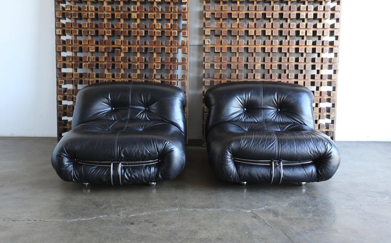 Afra & Tobia Scarpa Soriana Lounge Chairs and Ottoman for Cassina, circa 1975 For Sale 1