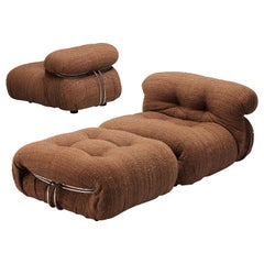 Afra & Tobia Scarpa 'Soriana' Lounge Chairs with Ottoman in Brown Upholstery