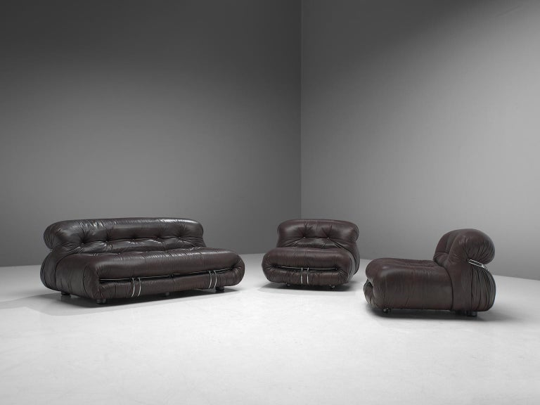 Afra & Tobia Scarpa, 'Soriana' living room set, dark brown leather and metal, Italy, 1969.