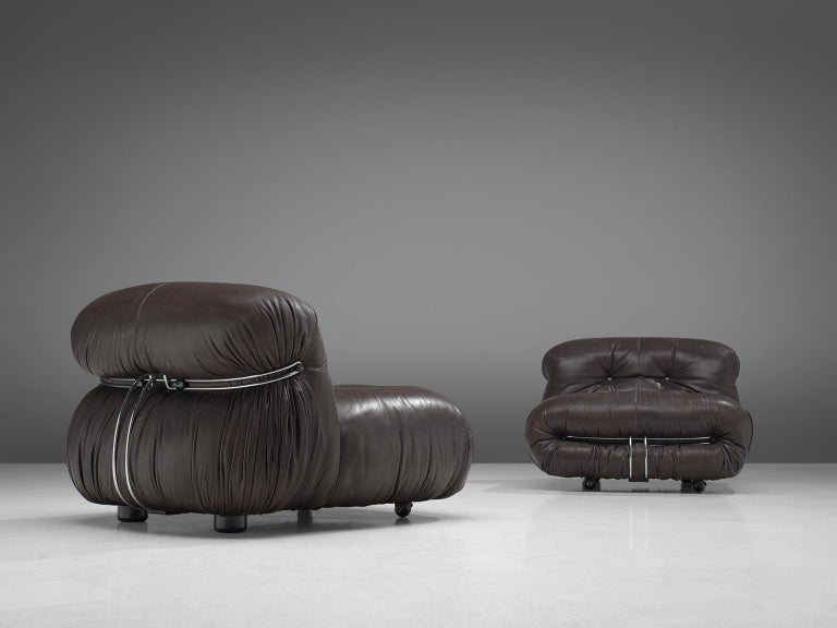 Italian Afra & Tobia Scarpa 'Soriana' Lounge Set in Chocolate Brown Leather