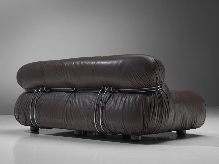 Mid-20th Century Afra & Tobia Scarpa 'Soriana' Lounge Set in Chocolate Brown Leather