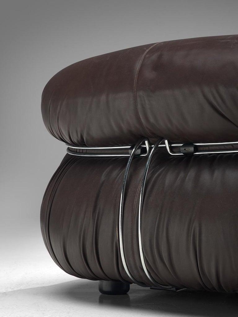 Afra & Tobia Scarpa 'Soriana' Lounge Set in Chocolate Brown Leather 2