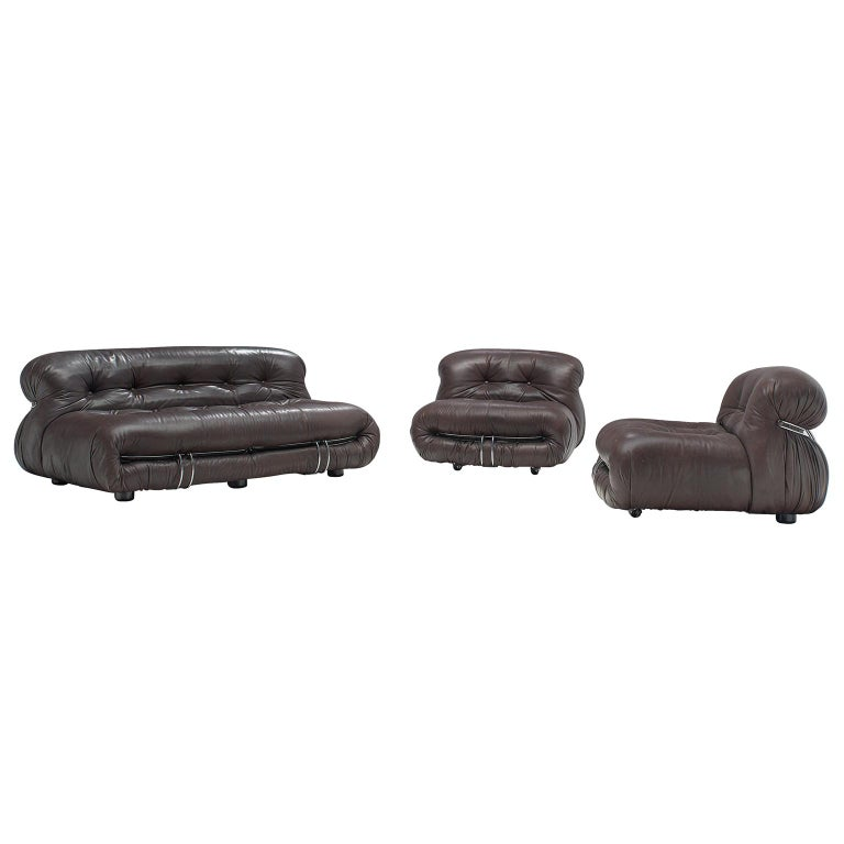 Afra & Tobia Scarpa 'Soriana' Lounge Set in Chocolate Brown Leather